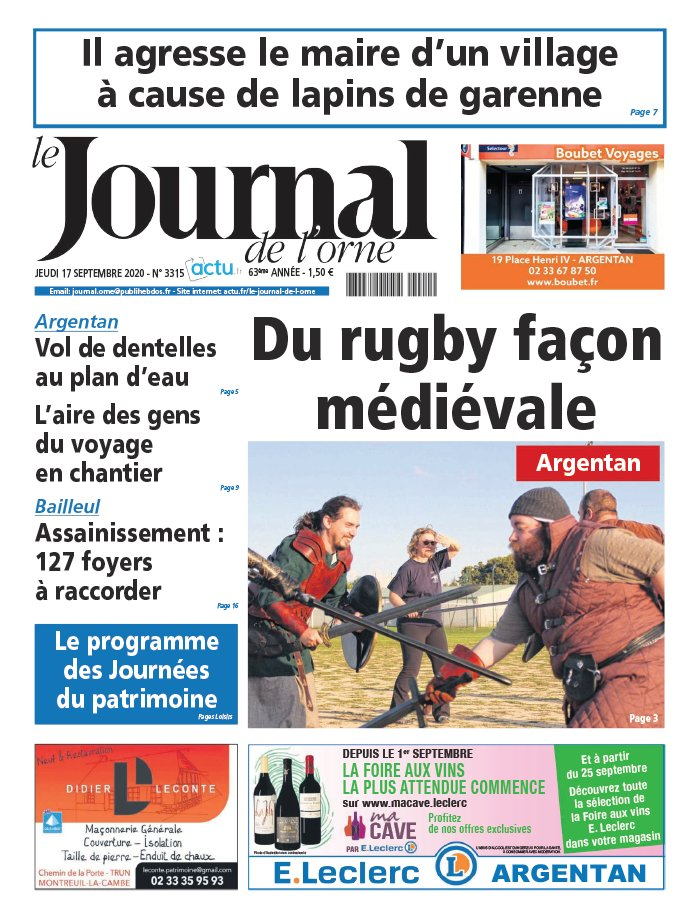 Le Journal de L'Orne du 17 septembre 2020