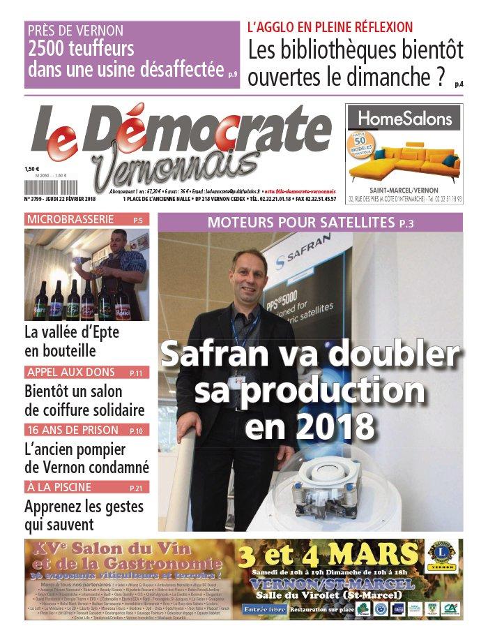 Le Démocrate Vernonnais N°3799 du 22 février 2018 à télécharger sur iPad