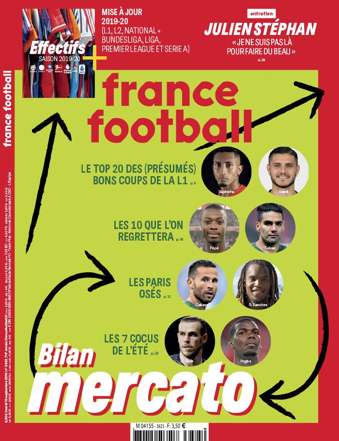 France Football N°3825 du 10 septembre 2019 à télécharger sur iPad