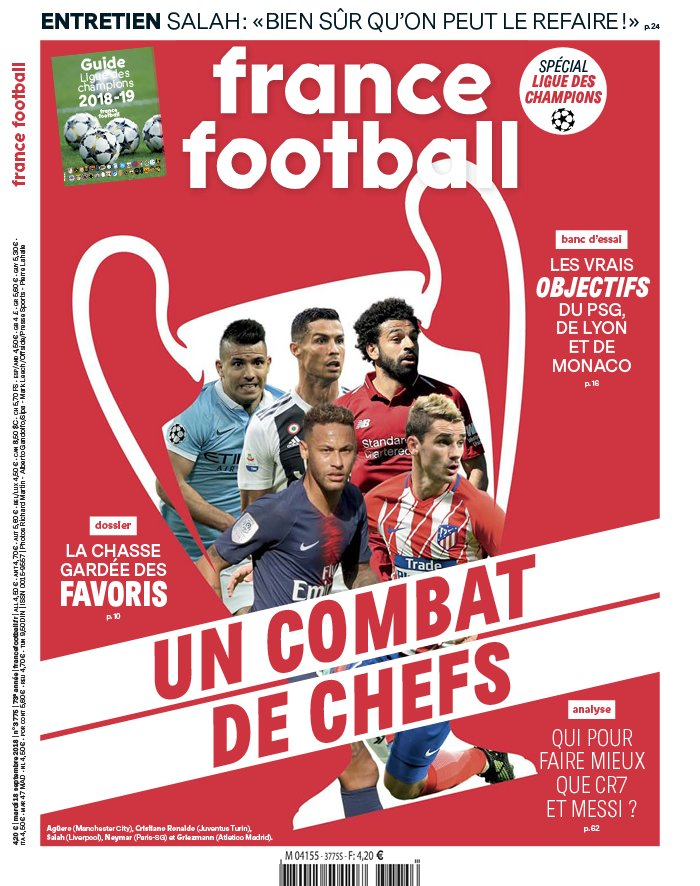 France Football N°3775 du 18 septembre 2018 à télécharger sur iPad