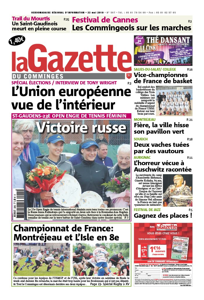 La Gazette du Comminges N°597 du 22 mai 2019 à télécharger sur iPad