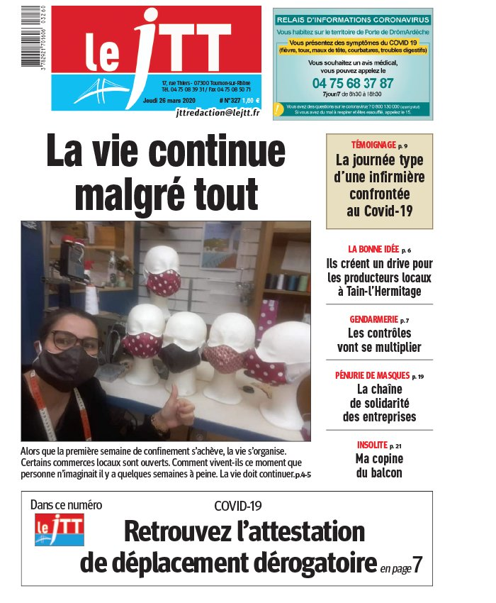 Le Journal de Tournon-Tain du 26 mars 2020