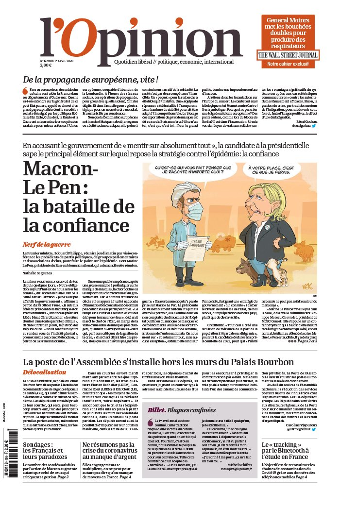 L'Opinion N°20200401 du 01 avril 2020 à télécharger sur iPad
