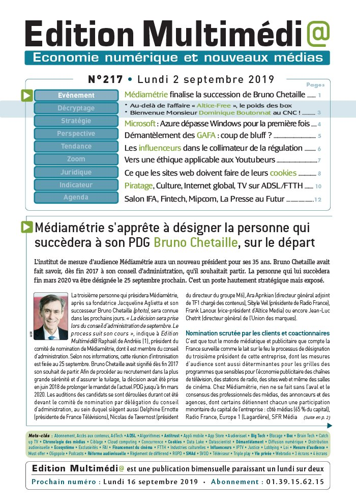 Edition Multimédi@ N°217 du 02 septembre 2019 à télécharger sur iPad