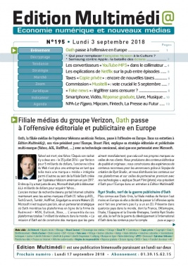 Edition Multimédi@ N°195 du 03 septembre 2018 à télécharger sur iPad