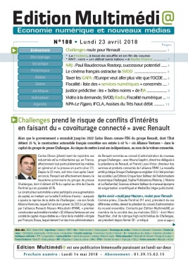 Edition Multimédi@ N°188 du 23 avril 2018 à télécharger sur iPad