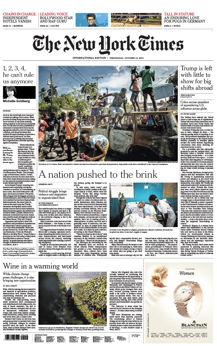 The New York Times International Edition du 23 octobre 2019